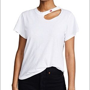 LNA Kissed Embroidered Tee. Perfect white & chic.